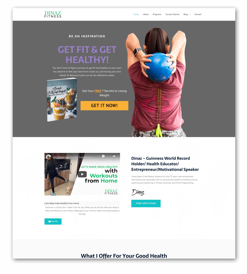 Done For You Website Dinaz Fitness