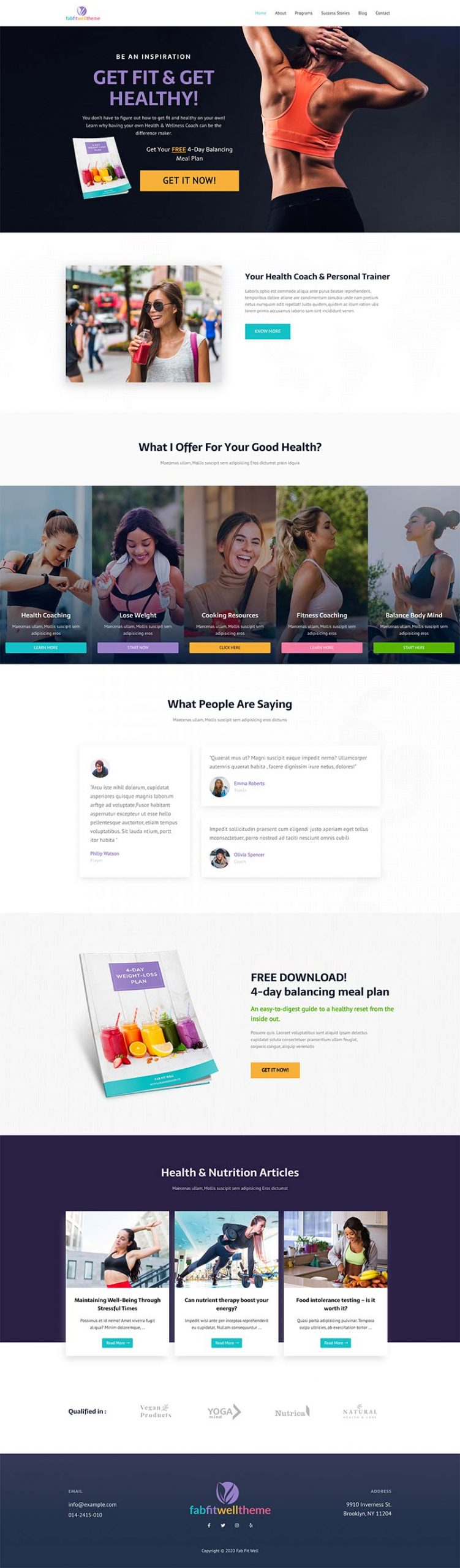 Done For You Website Fab Fit Well Theme Health Coach
