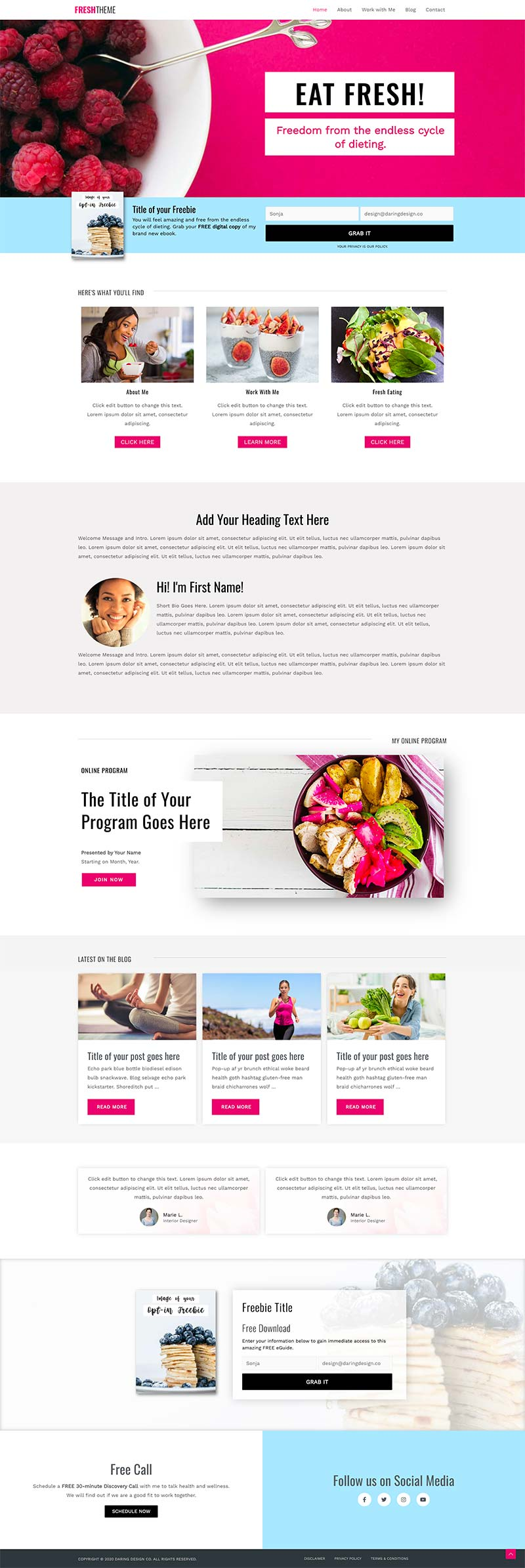 Done For You Website Fresh Theme Health Coach